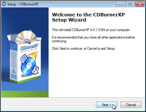 Installing CDBurnerXP | Helpdesk