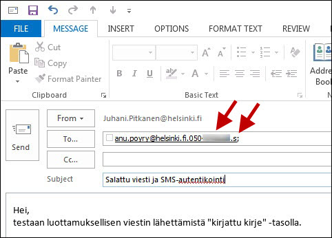 at the kirjattu kirje registered letter level you can send an encrypted message just like a normal one the only difference is in the recipients