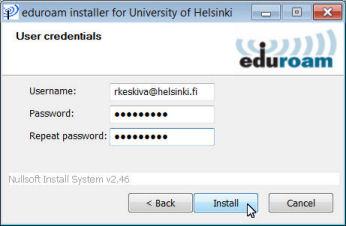 Setting up Eduroam with an installer package | Helpdesk