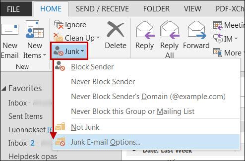 Outlook Roskapostiasetukset