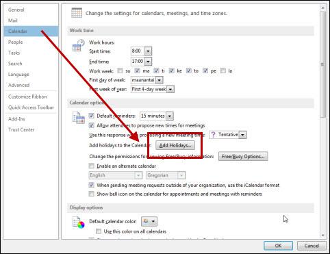 Outlook 2013: Settings | Helpdesk