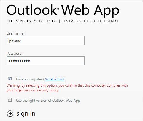Outlook 365 Helsinki