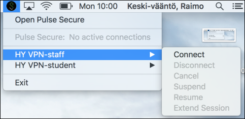 Using the VPN connection on Pulse Secure with your own Mac