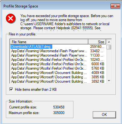 Freeing space in a full profile folder | Helpdesk